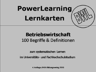 PowerLearning Lernkarten, BWL: Betriebswirtschaft, Lernkarten, Karin Kronawitter
