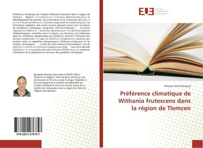 Préférence climatique de Withania frutescens dans la région de Tlemcen, Ibtissam Sarra Bouayed