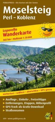 PublicPress Leporello Wanderkarte Moselsteig, Perl - Koblenz