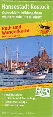 PublicPress Rad- und Wanderkarte Hansestadt Rostock, Ostseebad Warnemünde und Umgebung