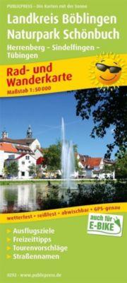 PublicPress Rad- und Wanderkarte Landkreis Böblingen - Naturpark Schönbuch, Herrenberg - Sindelfingen - Tübingen