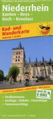 PublicPress Rad- und Wanderkarte Niederrhein, Xanten - Rees - Goch - Kevelaer