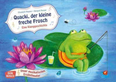 Quacki, der kleine freche Frosch. Eine Klanggeschichte, Kamishibai Bildkartenset - Elisabeth Wagner |