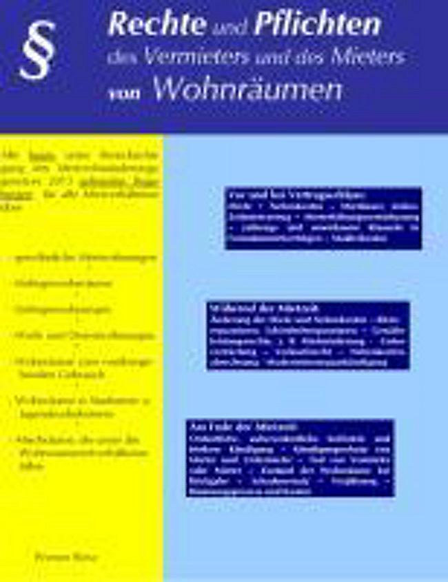 Rechte Und Pflichten Des Vermieters Und Des Mieters Von Wohnräumen Buch