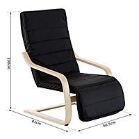 Relaxsessel mit verstellbarem Fußteil (Farbe: schwarz) - Produktdetailbild 6