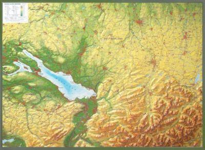 Relief Allgäu Bodensee 1:200.000, Reliefkarte, mit Holzrahmen, André Markgraf, Mario Engelhardt