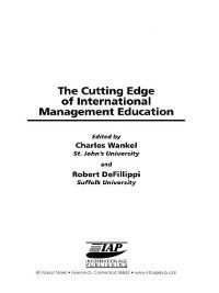 Research in Management Education and Development: The Cutting Edge of International Management Education