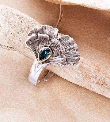 Ring Ginkgoblatt bicolor mit Zirkonia, 925 Silber