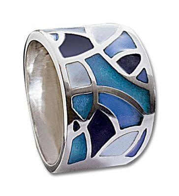 Ring Maren, Silber 925, Echt-Emaille (Ringgröße: 20)