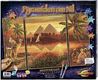 Schipper - Malen nach Zahlen Meisterklasse Tryptichon Pyramiden am Nil, Mal-Set