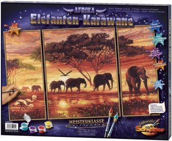 Schipper - Malen nach Zahlen Meisterklasse Tryptichon Afrika, Elefanten-Karawane, Mal-Set