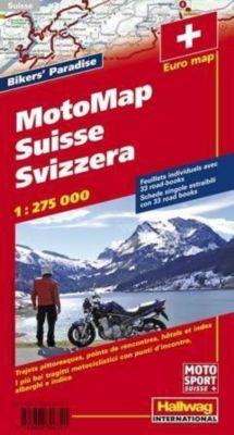 Schweiz MotoMap 1:275 000 Motorradkarte; MotoMap Switzerland; MotoMap Suisse; MotoMap Svizzera