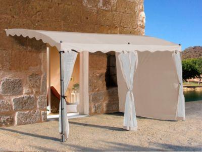Seitenwand-Set für Anbaupergola Mallorca, 3-teilig (Farbe: Sand)