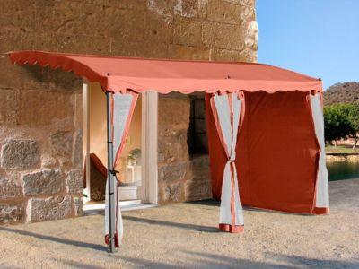 Seitenwand-Set für Anbaupergola Mallorca, 3-teilig (Farbe: Terra)