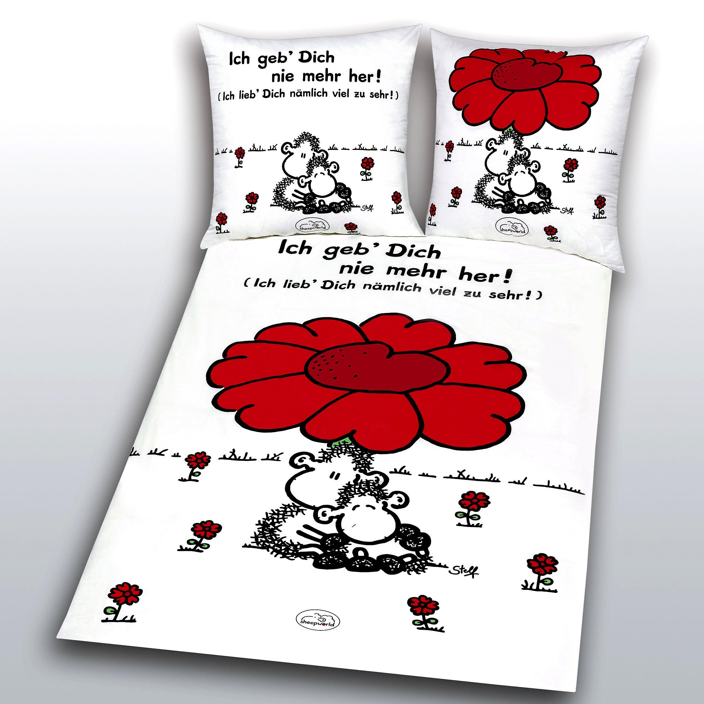 Sheepworld Bettwäsche Rote Blume Größe 135 X 200 Weltbildde
