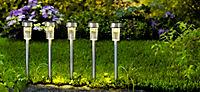 Solar-Gartenstecker aus Edelstahl, 5er Set - Produktdetailbild 1