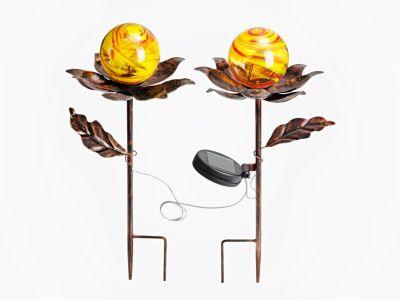 Solar-Gartenstecker Blume 2er-Set