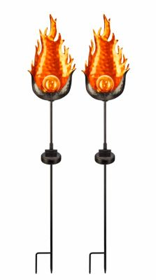 Solar-Gartenstecker Fire, 2er-Set