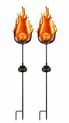 Solar-Gartenstecker Fire, 2er-Set