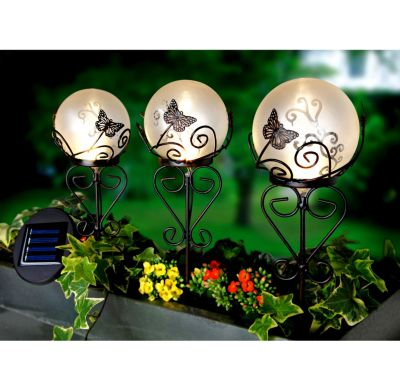 Solar-Gartenstecker Flora, 3er-Set