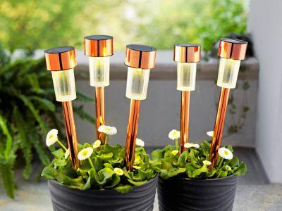 Solar-Gartenstecker Kupfer, 5er-Set