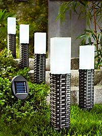 """Solar-Gartenstecker """"Rattan"""", 5er-Set - Produktdetailbild 1"""