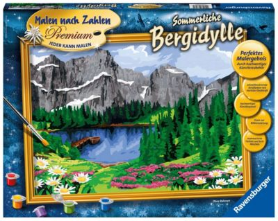 Sommerliche Bergidylle Malen nach Zahlen Serie Premium