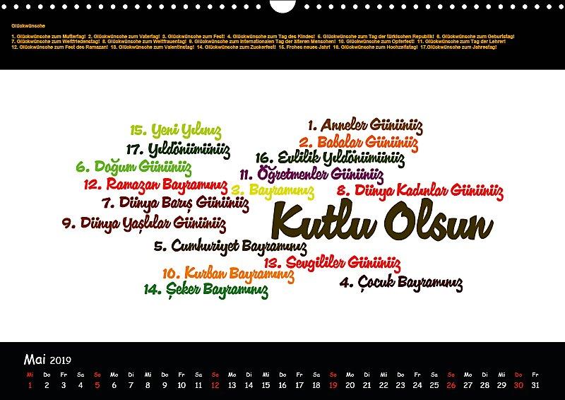 Sprachkalender Türkisch Deutsch Wandkalender 2019 Din A3