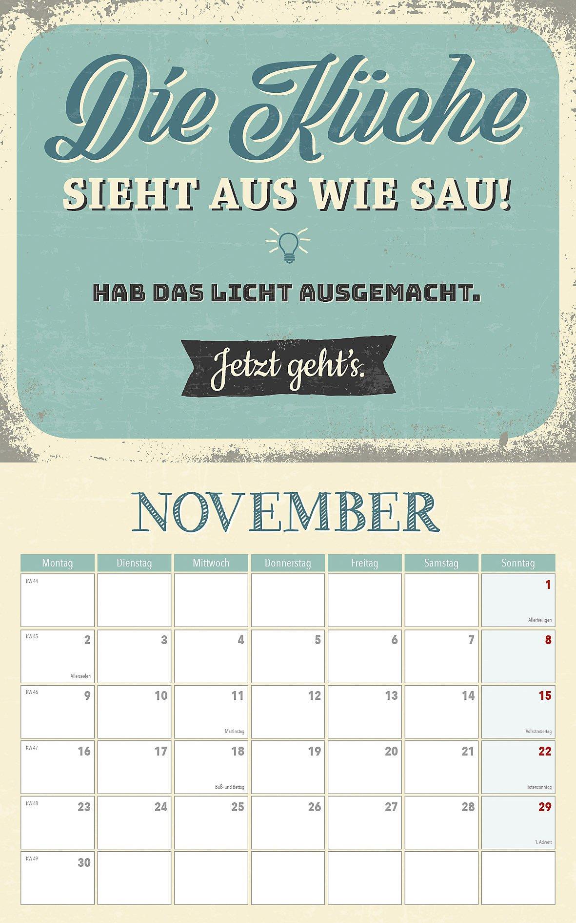 Sprüche für die Küche Kalender 2020 mit 2 Blechschildern - Kalender ...