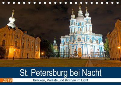 St. Petersburg bei Nacht (Tischkalender 2019 DIN A5 quer), Borg Enders