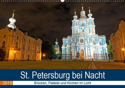 St. Petersburg bei Nacht (Wandkalender 2019 DIN A2 quer), Borg Enders