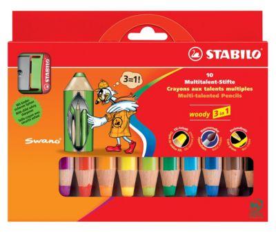 STABILO Woody 3 in 1, Multitalent-Stifte, 10er-Set inklusive Spitzer