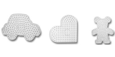 Steckplatten für XL-Bügelperlen, 3er-Set (Motive: Auto, Herz, Bär)