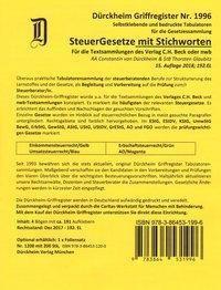STEUERGESETZE Dürckheim-Griffregister mit Stichworten Nr. 1996 (2018) 192.EL, Thorsten Glaubitz, Constantin von Dürckheim, Elena Rüppel