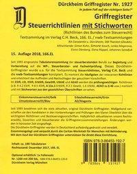 SteuerRichtlinien Griffregister Nr. 1927 (2018) mit Stichworten aus der Gesetzesüberschrift, Thorsten Glaubitz, Constantin Dürckheim