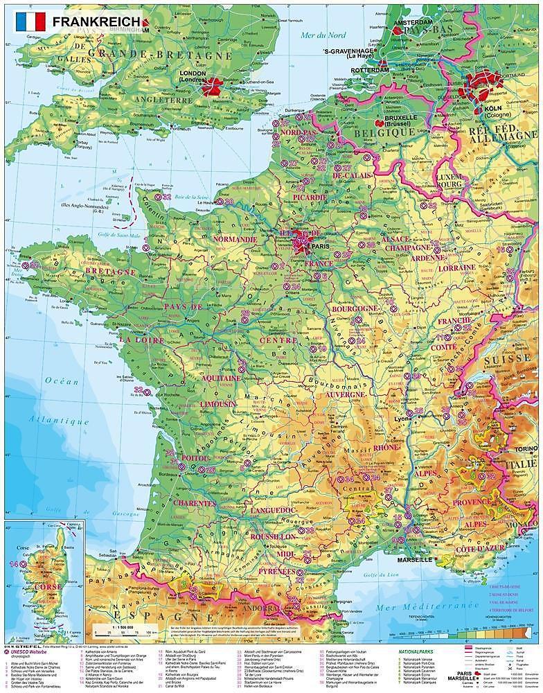 Physische Karte Lateinamerika.Stiefel Wandkarte Frankreich Physisch Buch Versandkostenfrei