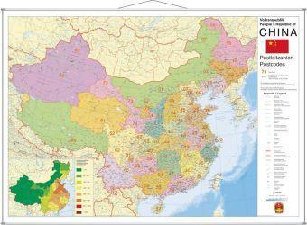 Stiefel Wandkarte Großformat China, Postleitzahlen, mit Metallstäben