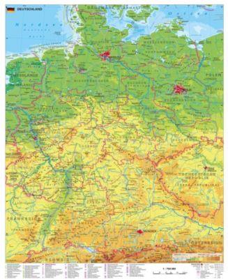 Stiefel Wandkarte Großformat Deutschland physisch, Heinrich Stiefel