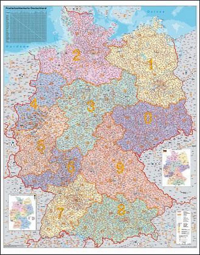 Bundesländer Karte Mit Plz.Stiefel Wandkarte Großformat Deutschland Plz Karte Ohne