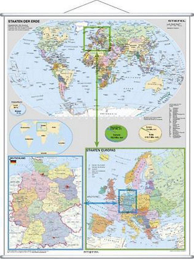 Stiefel Wandkarte Großformat Deutschland Und Europa In Der Welt