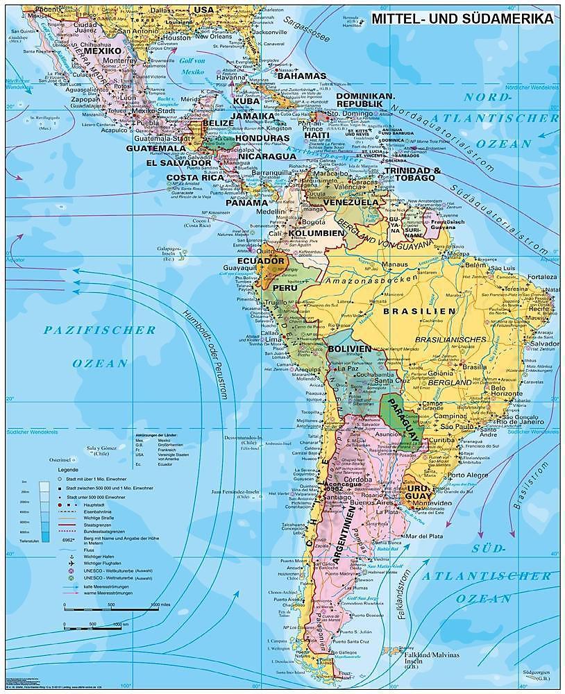 Physische Karte Lateinamerika.Stiefel Wandkarte Grossformat Lateinamerika Politisch Buch
