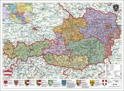 Stiefel Wandkarte Großformat Österreich, politisch, ohne Metallstäbe