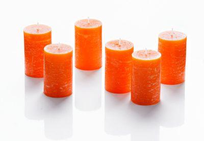 Stumpenkerzen, 6er Set, orange