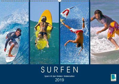Surfen: Spiel mit den Wellen - Wellenreiten (Wandkalender 2019 DIN A2 quer), CALVENDO