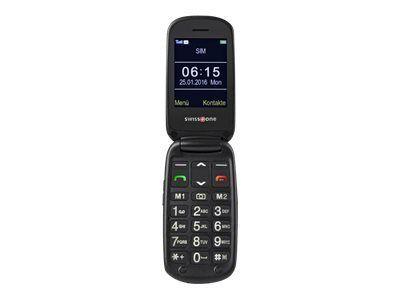 SWISSTONE BBM 615 schwarz grosse beleuchtete Tasten mit opt. Ziffernansage Notruftaste Kamera Bluetooth Tischladestation