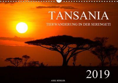 Tansania - Tierwanderung in der Serengeti (Wandkalender 2019 DIN A3 quer), Axel Köhler