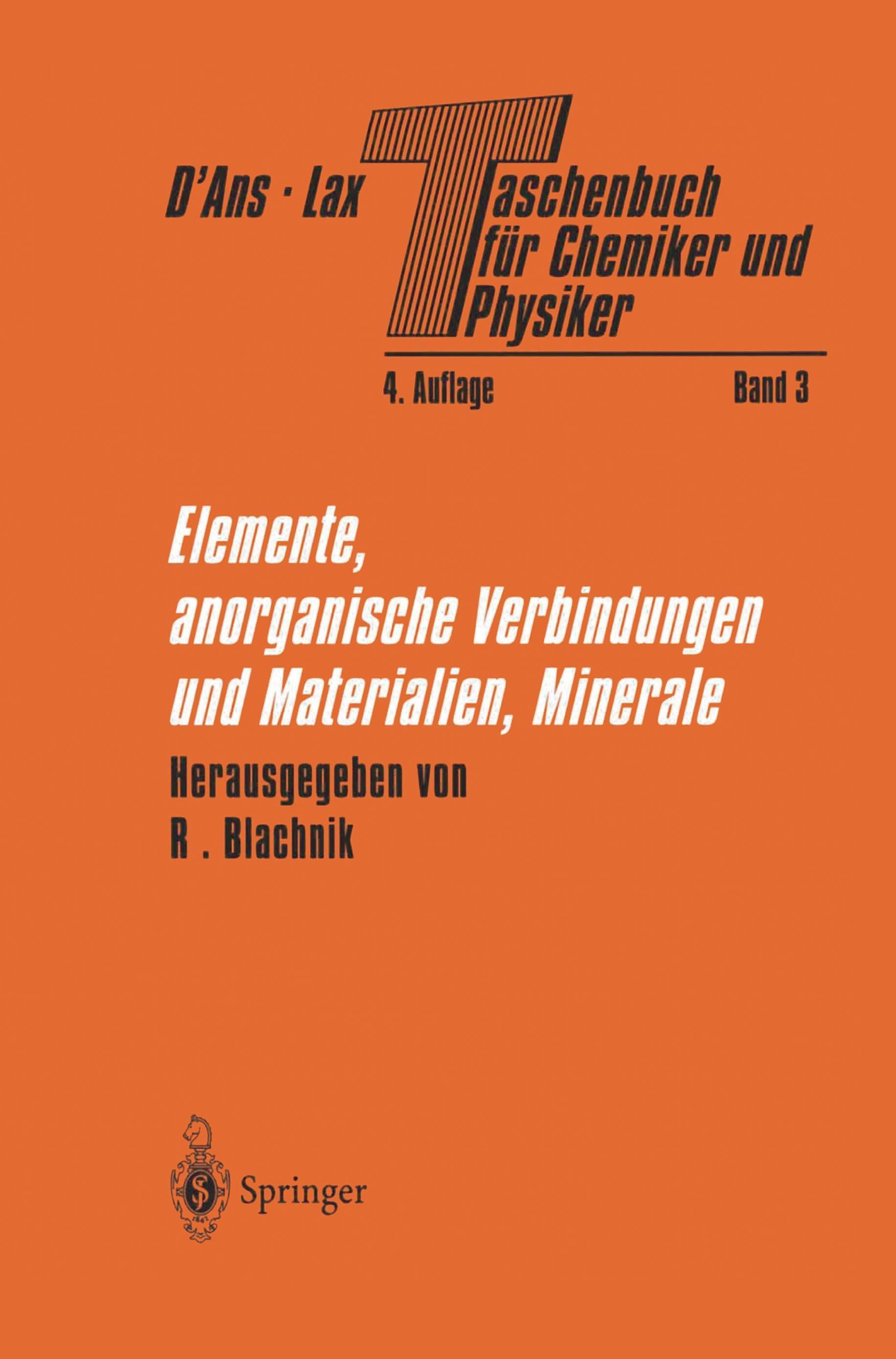Taschenbuch Für Chemiker Und Physiker 3 Teile Buch