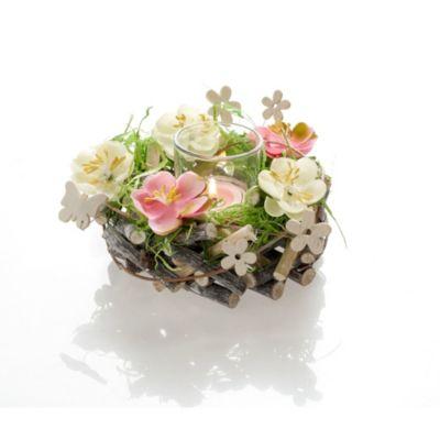 Teelichthalter Blütenkranz Rosa/Weiß