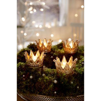 Teelichthalter- Set, 4tlg. Silver Crown