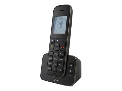 TELEKOM Sinus A 207 schwarz/silber schnurlos analog mit AB Telefonbuch für 150 Einträge Freisprechen beleuchtetes Grafik-Display